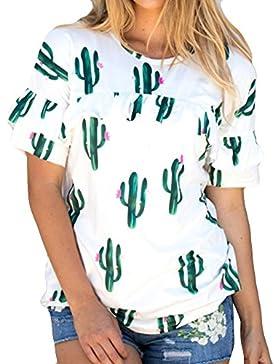 Weant T-Shirt Donne Maglietta Donna Bianco Manica Corta Tops Girocollo Cactus Ananas Stampa Giacca Cime Camicie...
