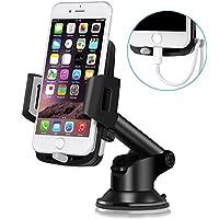 Support Téléphone Voiture Ventouse Auto – TOPLUS Support Voiture Réglable, Rotation à 360°Support iPhone Voiture au Pare-brise et Tableau de bord GPS pour iPhone 7/7 Plus/6S/6s Plus/5, Samsung