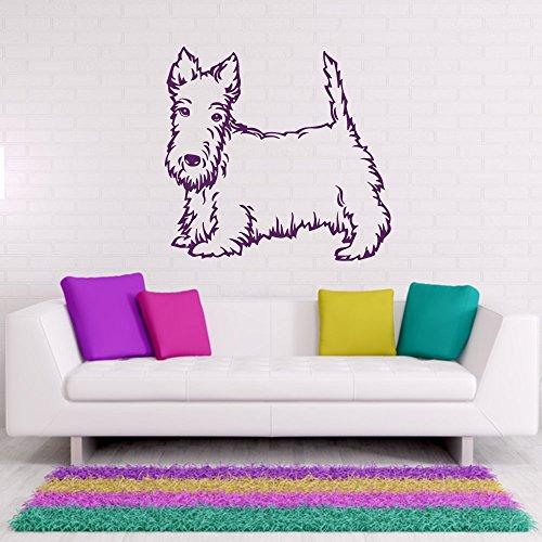 malango® Wandtattoo - Scottish Terrier Wand Tattoo Wandaufkleber Hund Hunderasse Tier Tierwelt Aufkleber ca. 120 x 114 cm Gold -