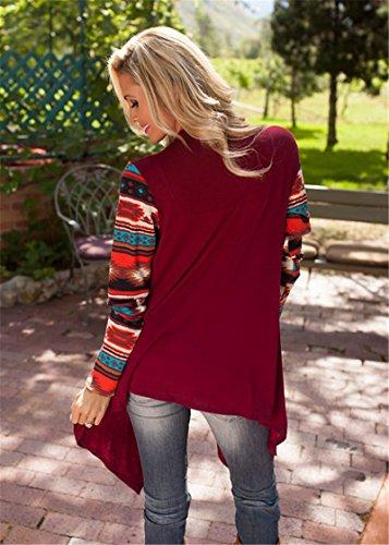 Cardigan Donna Maglione Manica Lunga anteriore aperto Camicetta Mantelle Giacca Cappotto Cardigan Maglioni di Maglia Maglieria Knitted Tops Vino rosso