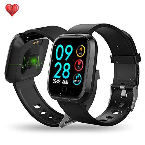 RIVERSONG Fitness Smartwatch IP67 Fitness Tracker mit Pulsmesser schrittzähler Herren Damen Kinder iOS Andriod (Schwarz)