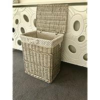 Large Polka Dot Rustic Grey Laundry Basket Storage Bin Lining Lid Handles Clothes Wicker Rattan