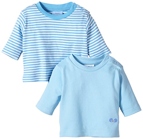 Twins Baby - Jungen Langarmshirt im 2er Pack, Mehrfarbig, Gr. 74, blau (baby blue)