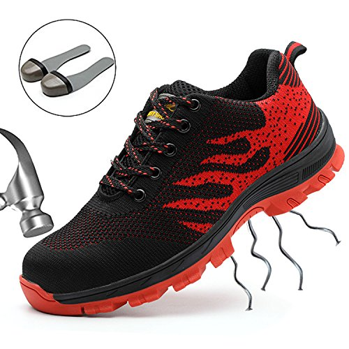 SUADEEX Arbeitsschuhe Herren Stahlkappe Damen Sicherheitsschuhe Leicht Atmungsaktiv Schutzschuhe Sportlich Turnschuhe Trekking Schuhe Traillaufschuhe- Gr. 38 EU (Etikettgröße: 39 EU), Rot