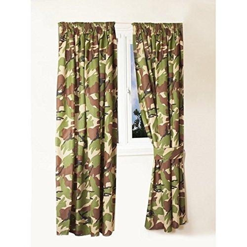 Armee Camouflage Camo Military Fenster Vorhänge & Raffhalter 66″ Breite x 72″ Drop (Hs Camo)
