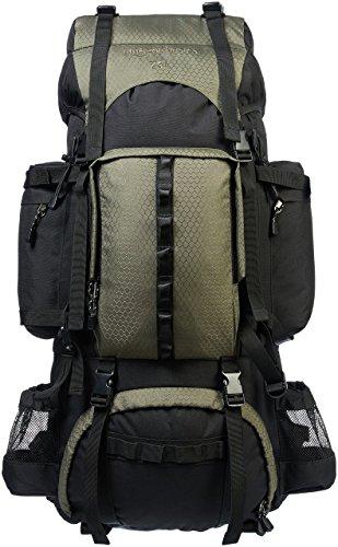 AmazonBasics - Zaino da escursionismo con telaio interno e cerniera antipioggia, 75 L, Verde