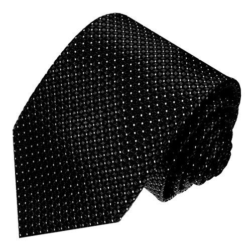 Lorenzo Cana - Designer Krawatte aus 100% Seide - Markenkrawatte schwarz Punkte klein weiss - 84576 (Seide Schal Herren Krawatte)