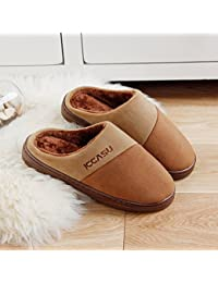 Brown Comfortable Anti-Slip Men Women Lovers Home Indoor Slippers Shoes Winter Keep Warm Soft Cotton Couple Slippers