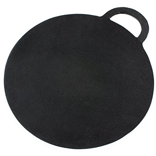Andrew James Cast Iron Baking Stone for Pizza - Bread - Scones etc. - 30cm (12 inch) Diameter - Seasoned Non-Stick Surface for Easy Cleaning