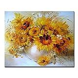Planta de pintura digital DIY pintura al óleo conjunto de lona digital girasol dibujo colorear imagen decoración del hogar arte de la pared flor