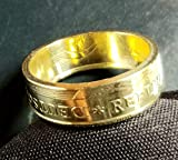 Coinring, Münzring, Ring aus Münze (20 Pfennig DDR 1969), Messing - Double Sided coin ring - Größe 47 (15.0), handgeschmiedetes Unikat