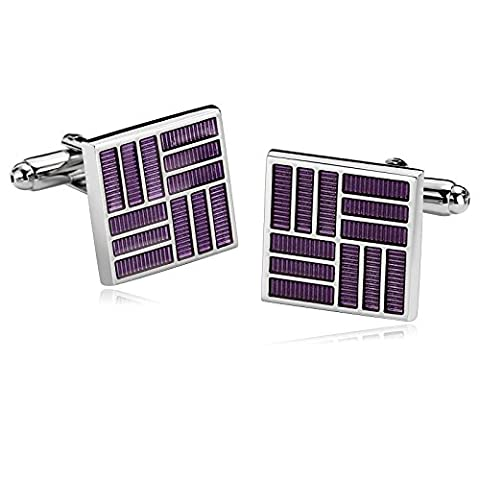 AMDXD Jewelry Stainless Steel Cufflinks for Men Square Lines Purple Cuff Links 1.7X1.7CM