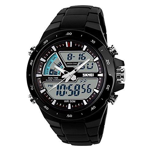 TTLIFE Relojes de pulsera unisex con esfera grande, relojes deportivos de Silicona con correa Impermeable, Reloj digital de color negro