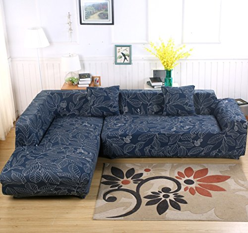 L-Form Sofabezug, Polyester, Strech, 2Stück + 2Kissenbezüge für geteiltes Sofa Bleu (Feuilles)