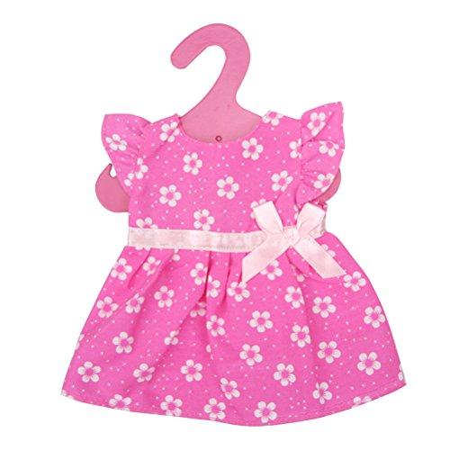 Toymytoy vestito per bambola rosa stampa fiori con fiocco 18 pollici