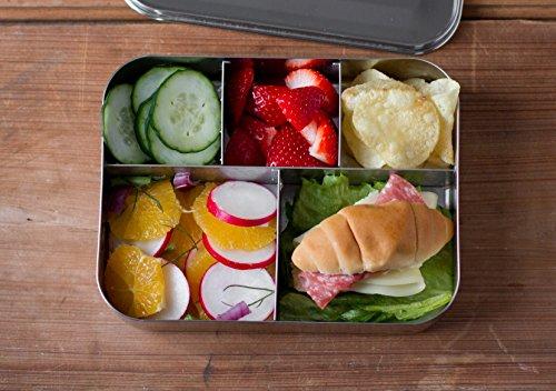 LunchBots Bento cinco grandes acero inoxidable envase de alimento,...