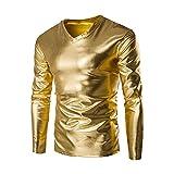 Doublehero Herren Langarmshirt Metallic Shiny Wet Look Hemd Slim fit Sweatshirt Herbst Winter Mode Rundhals Einfarbig Pullover Reizvoller Oberteile Freizeitshirt Outwear