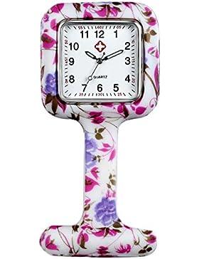 Lancardo Uhren,Krankenschwester FOB-Uhr Damen Silikon Tunika Brosche Taschenuhr Analog Quarzuhr, Rosa Lila