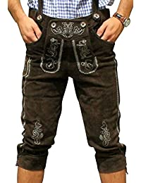 Trachten Lederhose aus echtem Leder Kniebundhose Größe 46-48-50-52-54-56-58-60 Dunkelbraun *NEU*