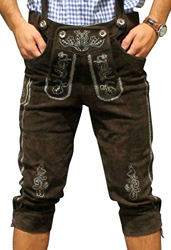 Trachten Lederhose aus echtem Leder Kniebundhose Größe 46-60 (56, Dunkelbraun)