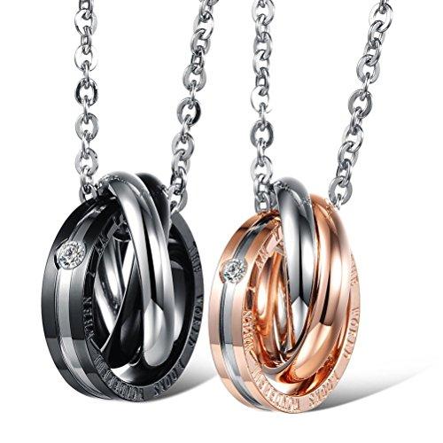 *Jewow Schmuck Edelstahl Verliebte Paar Halskette Anhänger mit Gravur für Sie und Ihn*