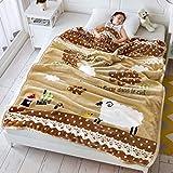 xiaomomo521 Kinderdecken, Doppellagig, Dicke Koralle Samt, Kinder Studentische Einzeldecke 150 x 200cm Little Sheep Brown