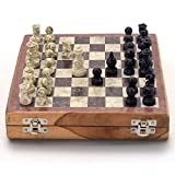 Purpledip Chess Set with Stone Sculpted Pieces and Marble Finish Board: Strategy Board Game with Universal Rules; Loved Alike by Kids and Adults of All Ages (10205)