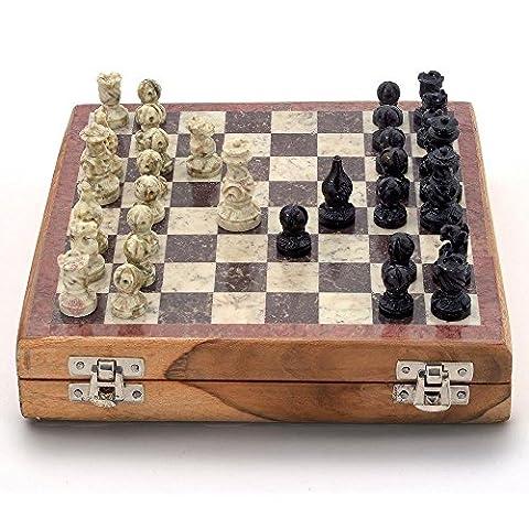 purpledip Chess Set mit Stein modellierte teilig und Marmor Finish Board: Strategie Spiel mit Universal Regeln, Loved gleichermaßen durch die Kinder und Erwachsene aller Altersstufen (10205)