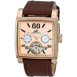 Adee Kaye Unisex ak9043-MRG Wall Street Analog Display Automatic Self Wind Brown Watch