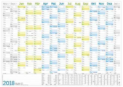 Wandkalender 2018 89x63cm (größer A1) gefalzt, Wandplaner 15 Monate Nov 17 - Jan 19, FSC-Papier, inkl. A4-Kalender