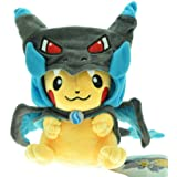 POKEMON - PIKACHU WITH MEGA CHARIZARD X CAPE - PELUCHE PIKACHU (DISFRAZ / COSPLAY / COSTUME) PIKACHU PLUSH TOY 25cm / 10""