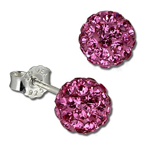 SilberDream Ohrstecker Glitzerkugel 6mm pink Preciosa Zirkonias Sterling Silber 925 Ohrring GSO2806P