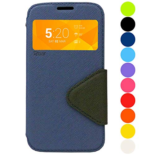 Roar Handy-Hülle für Samsung Galaxy Note 4, Hülle in Navy Blau, Schutzhülle Tasche Handytasche [Premium Flip-Case mit Sichtfenster, Magnetverschluss, Standfunktion] - Navy Blau (Samsung Note 4 Flip Case S-view)