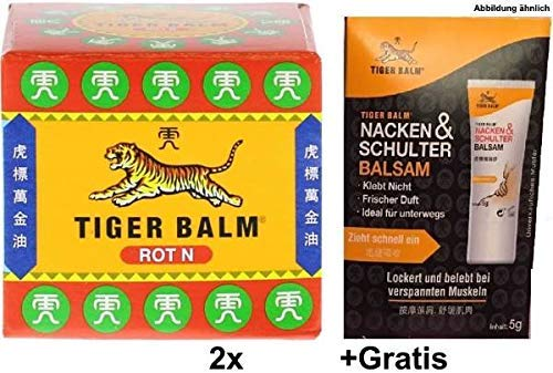 Tiger Balm Rot N 2x 19,4g Zur Förderung der Hautdurchblutung +Gratis 5g Nacken & Schulter Balsam