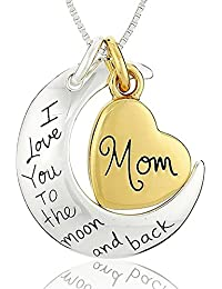 Evana I Love You To The Moon And Back Attached Steelheart Silver Brass Pendant Necklace For Women