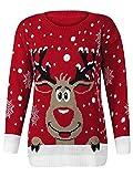1KLICKGLOBAL - Pull Tricot Rudolph Reindeer de Noël Femmes Hommes Unisexe