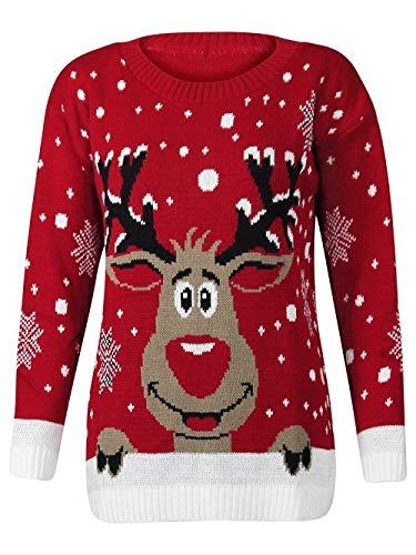 Crazy Girls Verrückte Mädchen Frauen Festliche Neuheit Frohe Weihnachten Gestrickte Pullover Damen Weihnachtsbaum Vintage Warme POM POM Rentier Jumper EU 36-132 -