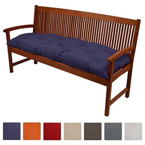 Beautissu Bankauflage Flair BK ca.150x50x10 cm bequeme Polster Garten-Bank Auflage Sitzauflage Bank in Blau