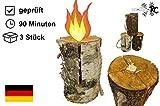 3 x Schwedenfeuer inkl. Anzünder | Finnenfeuer | Baumstammfackel |Gartenfackel | Lichtrollen | Ø 12-14cm -> Höhe 25-30cm | molinoRC ® Fackeln