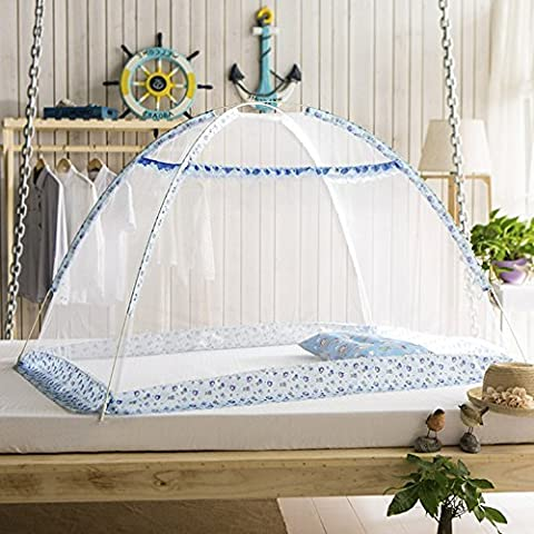 Mongolian Bag Nets Tent, Mosquito Net Portable Free Installation of Folding Mosquito Repellent Yurt Dome, Net yurt, Can be Used for Indoor and Outdoor ( 32 * 43 * 32 inches) (Blue)
