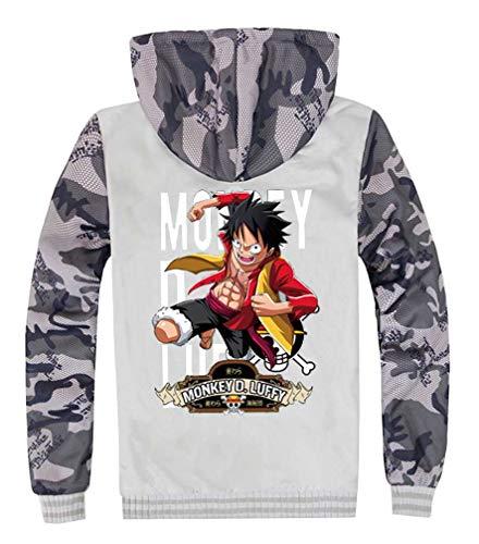 Cosstars One Piece Anime Hoodie Kapuzenpullover Herren Cosplay Kostüm Plus Samt Camo Sweatjacke Mantel 23 - One Piece Anime Kostüm