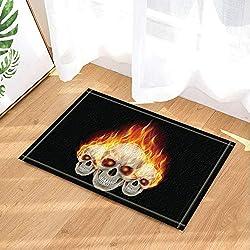 SHUHUI Decoración de Halloween Tres Calaveras llameantes con alfombras de baño Fiery Eyes Antideslizante Felpudo para Interiores 60X40CM