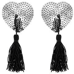 Idea Regalo - Paris Hollywood Nipple Copricapezzoli Cuore Glitter Sequin Argento/Pompon Adesivo riutilizzabile