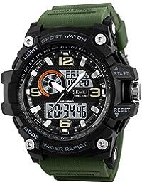 Los hombres de cronógrafo reloj Digital de cuenta atrás alarma 3 zonas  horarias calenadr luminoso Deportes c897162537af