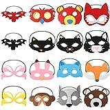 Coobey 16 Pieces Animal Masks Animal Felt Masks Half Masks Party Masks Kids Animal Mask Toys With Elastic Ribbon For Party