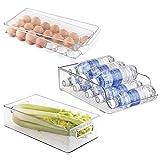 mDesign rangement frigo en plastique (lot de 3) - le lot contient une boîte de rangement, un range bouteille frigo et une boite a oeuf avec un couvercle - transparent