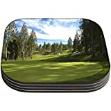 Snoogg Green Park für Golf 4Stück Quadratisch Tisch Untersetzer/Tisch und Küche Zubehör-Set für Getränke Set quadratisch, 4Stück handgefertigt Untersetzern aus Holz