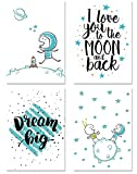 PICSonPAPER Kinder Poster 4er-Set Astronaut, ungerahmt Din A4, Dekoration fürs Kinderzimmer, Kinderposter, Geschenk, Kunstdruck, Wandbild (Ohne Bilderrahmen)
