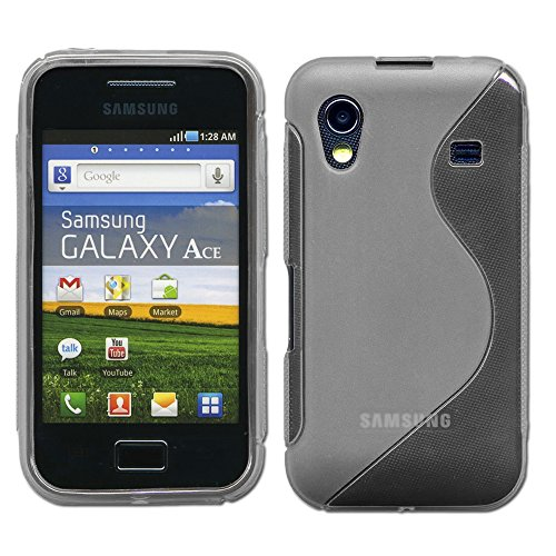 ebestStar - Compatibile Cover Samsung Ace Galaxy S5839i, S5830, S5830i Custodia Protezione S-Line Design Silicone Gel TPU Morbida e Sottile, Grigio [Apparecchio: 112.4 x 59.9 x 11.5mm, 3.5'']