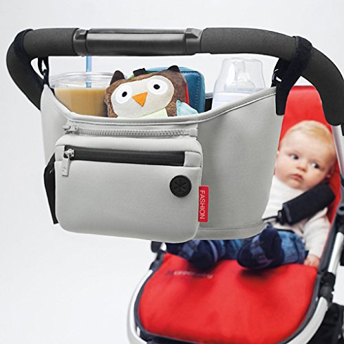 Baby Cart Kinderwagen Tasche Organizer Korb Leinwand Kinderwagen Cup Holder Tasche Wellpappe Grau Grau Carry-on Grau